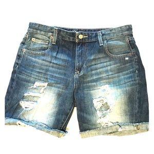 Distressed denim jeans shorts